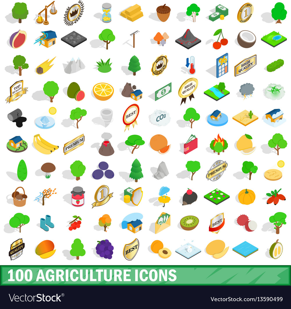 100 agriculture icons set isometric 3d style vector