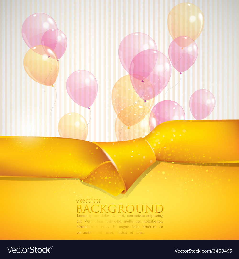 Abstract background with yellow ribbon and vector