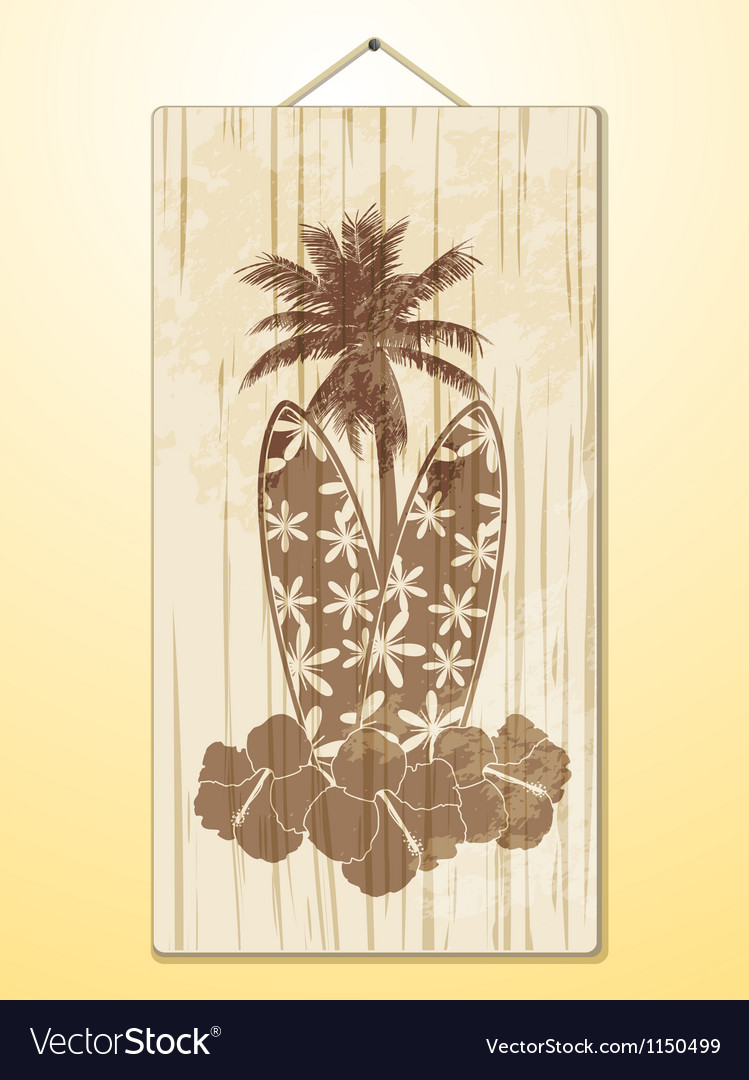 Surfboard hibscus flowers and palm tree on wood vector