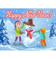 Children make a snowman greeting vector image