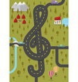 Road in the shape of treble clef vector image vector image