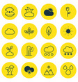 set of 16 ecology icons includes oak sprout vector image