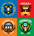 Fight academy MMA emblems vector image