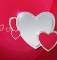 Hearts cut out from Paper on Abstract Pink vector image