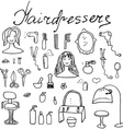 Hairdresser equipment doodles set Hand-drawn vector image