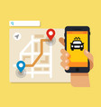 smartphone with taxi service application vector image