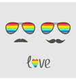 Two glasses with rainbow lenses and mustaches vector image