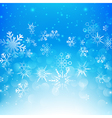 Snow fall with bokeh abstract blue background vector image