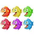 Six fish with sharp teeth vector image vector image