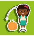 cartoon girl peach fruit vector image