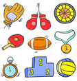 collection stock sport equipment doodles vector image