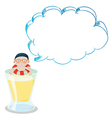 A big cup with a young boy having an empty callout vector image vector image