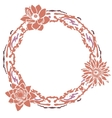 Floral round frame Hand drawn vector image