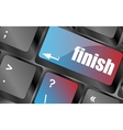 finish button on black internet computer keyboard vector image