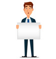 business man in formal suit holding blank placard vector image