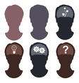 Silhouette of the head and brain vector image vector image
