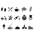 black italy icons set vector image vector image