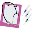 stethoscope and three syringe vector image