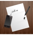 Blank white paper on wooden desk with mobile phone vector image