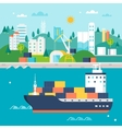 Container Cargo Ship and Port vector image
