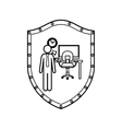contour shield of man administrator in office vector image