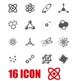grey atom icon set vector image