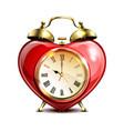 metal retro style alarm clock in heart form vector image