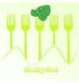 tableware set of fork with spinach vector image