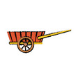 wheelbarrow wooden farm trasnport element vector image