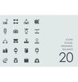 Set of scales weighing balance icons vector image