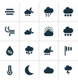 weather icons set collection of sun-cloud haze vector image