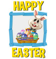 happy easter poster with bunny and eggs vector image vector image