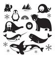 Arctic Animals Silhouette Set vector image