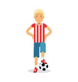 cute teenager boy in sports uniform standing with vector image