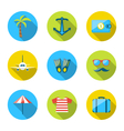 Set flat icons of traveling tourism and journey vector image
