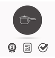 Saucepan icon Cooking pot or pan sign vector image