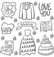 doodle of wedding various element vector image