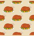 roast turkey for thanksgiving seamless pattern vector image