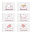 Business cards set with doodle food logos Hand vector image