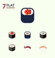 flat icon salmon set of sashimi seafood salmon vector image