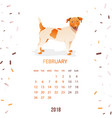 new year calendar 2018 with a dog in flat style vector image