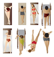 People Pool and Beach top view set 1 vector image