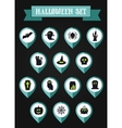 Set of halloween mapping pin icon vector image