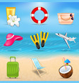set realistic travel and tourism accessories vector image