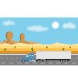 Truck on the road in desert vector image