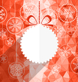 White christmas bauble and snowflake background vector image