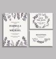 Vintage wedding set with greenery vector image vector image