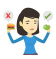 woman choosing between hamburger and cupcake vector image
