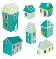 cute isometric houses vector image vector image