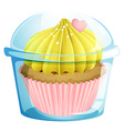 A cupcake inside the transparent container vector image